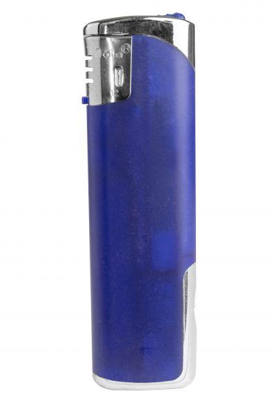 Nola 12 Elektronik Feuerzeug LED lila nachfüllbar frosty lila, Kappe und Drücker chrom mit lila