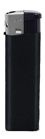 Nola 1 PIEZO lighter black refillable body matt black, cap silver, pusher black