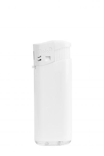 Nola 4 midi Elektronik Feuerzeug weiß nachfüllbar glänzend weiß, Kappe und Drücker weiß