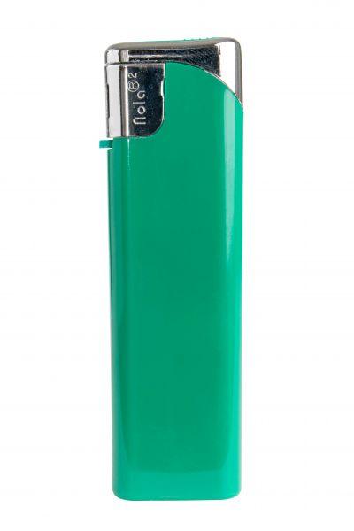 Nola 2 Elektronik Feuerzeug grün nachfüllbar glänzend grün, Kappe und Drücker chrom mit grün