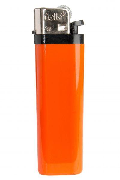 Nola 7 Reibrad Feuerzeug orange Einweg glänzend orange, Kappe chrom, Drücker schwarz