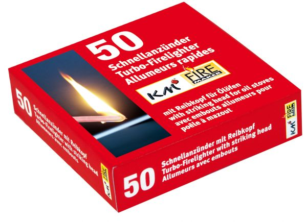Rapid firelighter for oil stoves with match Pack of 50 pcs. wax paper with match