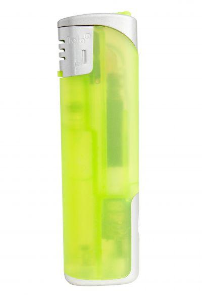 Nola 12 Elektronik Feuerzeug LED hellgrün nachf. frosty hellgrün, Kappe und Drücker chrom mit hellg