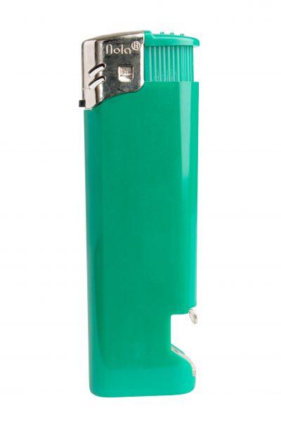 Nola 16 Elektronik Feuerzeug grün nachfüllbar glänzend grün, Kappe chrom, Drücker grün