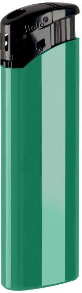 Nola 9 Elektronik Feuerzeug grün nachfüllbar glänzend grün, Kappe und Drücker schwarz