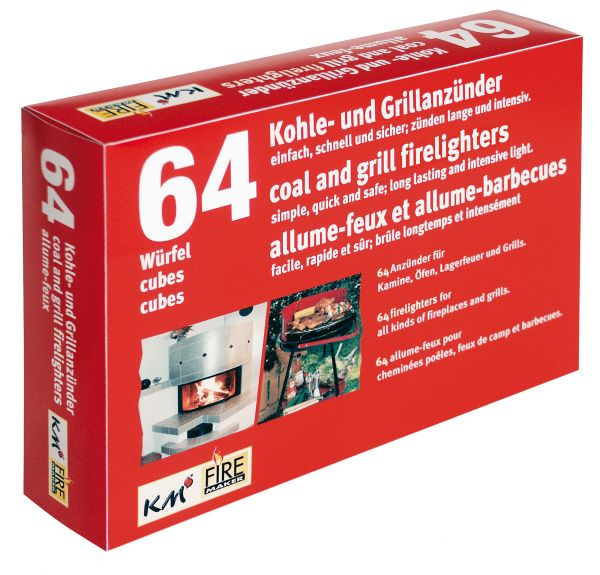 Firelighters for BBQ, Fireplace and Coal Pack of 64, 2 palettes à 32 cubes