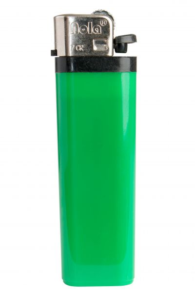Nola 7 Reibrad Feuerzeug grün Einweg glänzend grün, Kappe chrom, Drücker schwarz