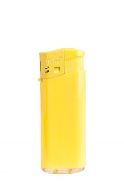 Nola 4 midi Elektronik Feuerzeug gelb nachfüllbar glänzend gelb, Kappe und Drücker gelb