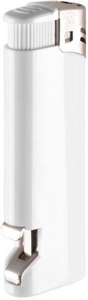 Nola 16 Elektronik Feuerzeug weiß nachfüllbar glänzend weiß, Kappe chrom, Drücker weiß