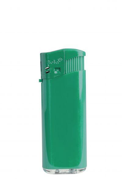 Nola 4 midi Elektronik Feuerzeug grün nachfüllbar glänzend grün, Kappe und Drücker grün