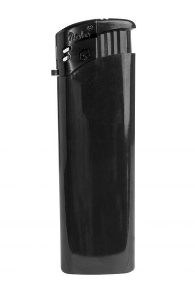 Nola 9 Elektronik Feuerzeug schwarz nachfüllbar glänzend schwarz, Kappe und Drücker schwarz