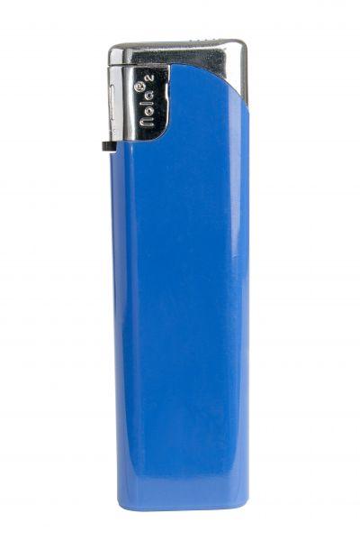 Nola 2 Elektronik Feuerzeug blau nachfüllbar glänzend blau, Kappe und Drücker chrome mit blau