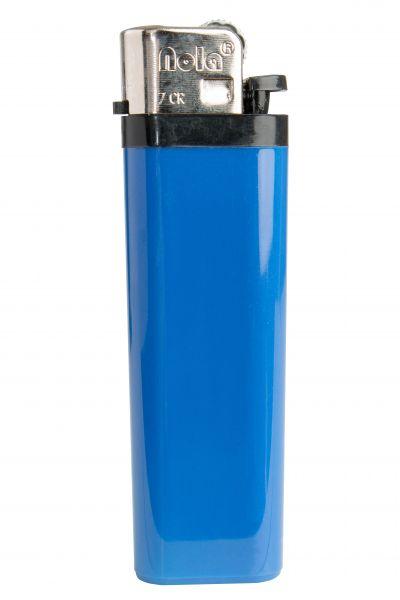 Nola 7 Reibrad Feuerzeug blau Einweg glänzend blau, Kappe chrom, Drücker schwarz