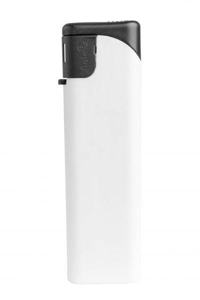 Nola 2 Elektronik Feuerzeug weiß nachfüllbar matt weiß, Kappeund Drücker schwarz