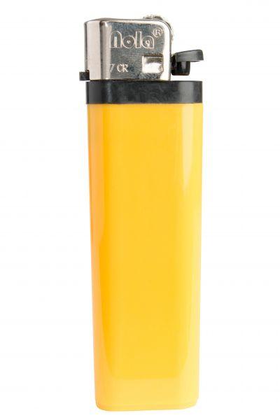 Nola 7 Reibrad Feuerzeug gelb Einweg glänzend gelb, Kappe chrom, Drücker schwarz